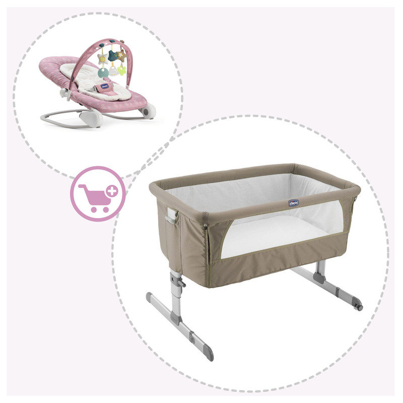 Culla co-sleeping Next2Me Dove Grey + Sdraietta Chicco Hooplà Princess