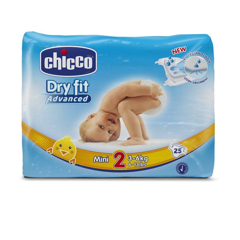 Pannolini DryFit Advanced Mini 3-6 kg taglia 2 Confezione con 25 pannolini
