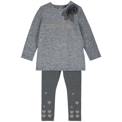Set felpa e leggings effetto tricot