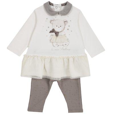 Set abito con orsetto e leggings