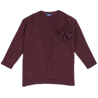 Cardigan tricot con fiore