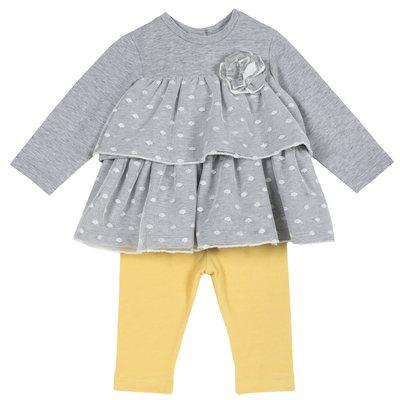Set blusa con balze e pantalone lungo