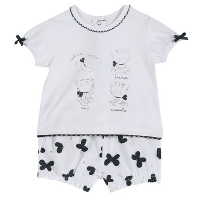 Set t-shirt e pantaloncini con farfalline