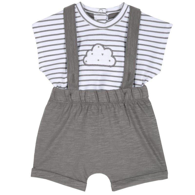 Set t-shirt con nuvoletta e pantaloncini con bretelline 1M GRIGIO CHIARO