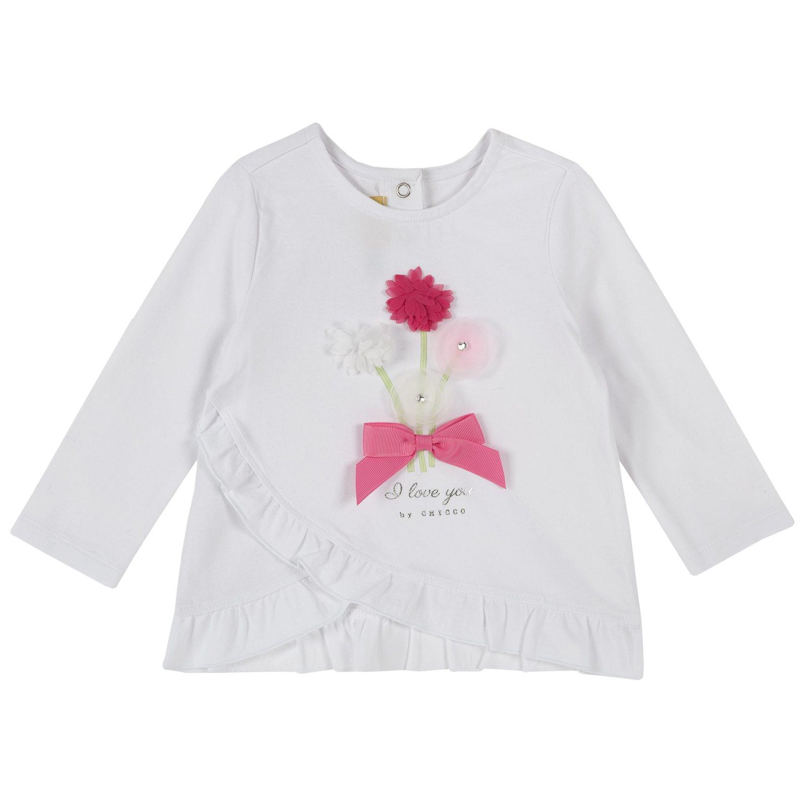 a0cf5caea407b9 Camicie e T-shirt bambina t-shirt con fiori applicati bianco ...