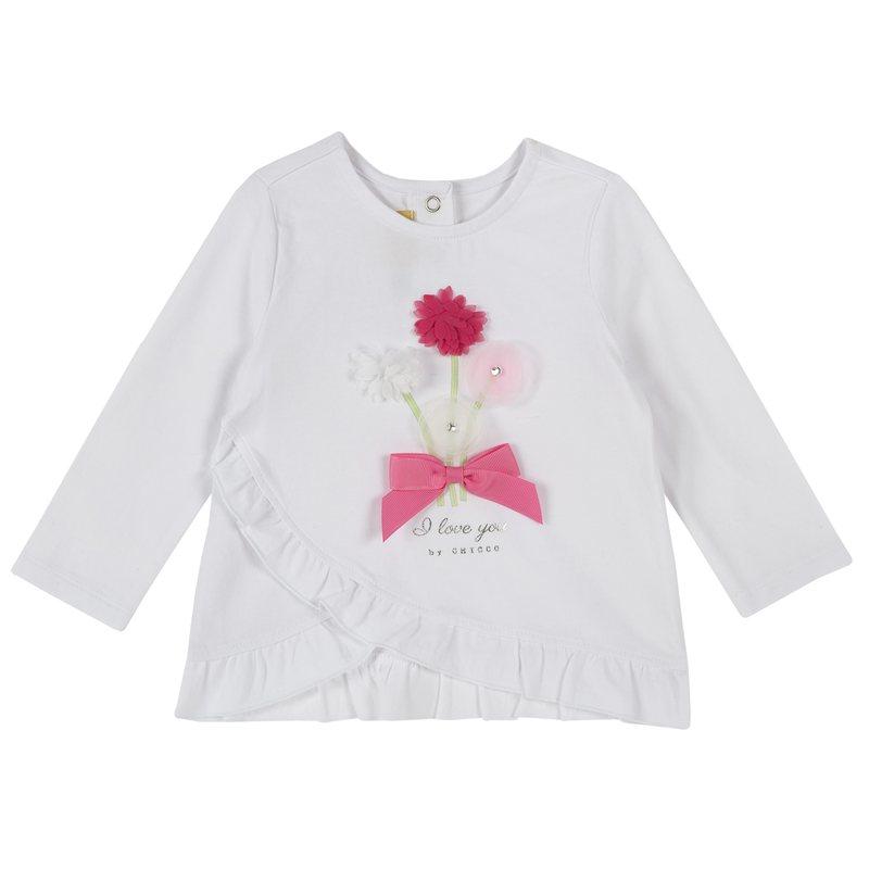 T-shirt con fiori applicati