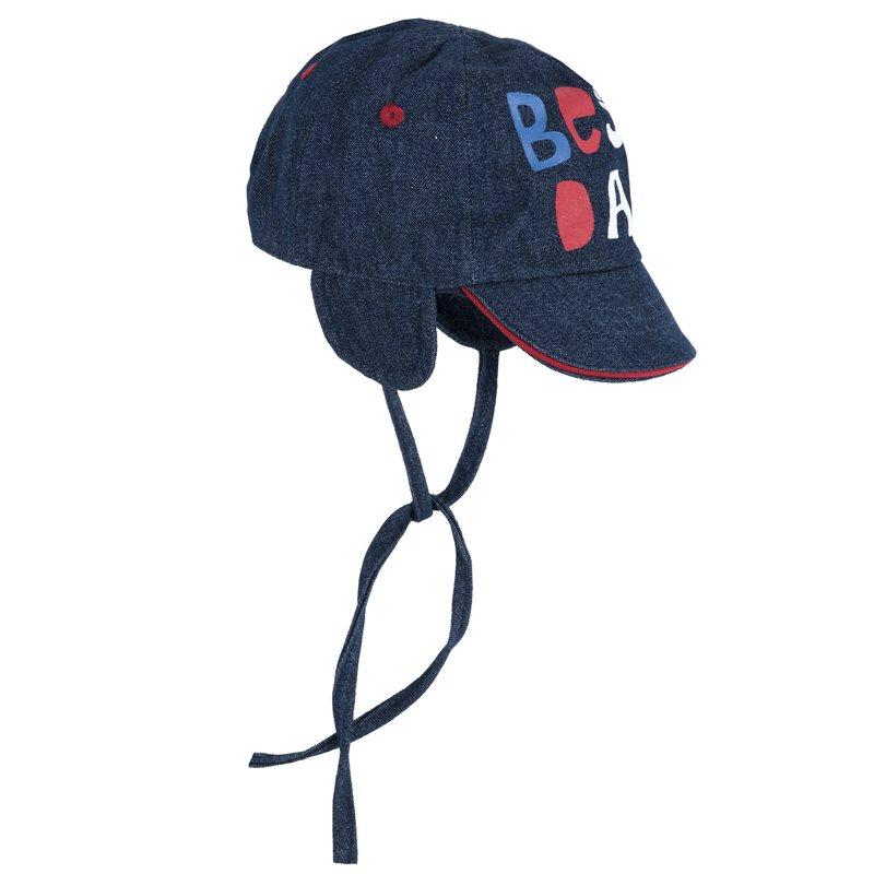 Cappello con visiera e stampa denim