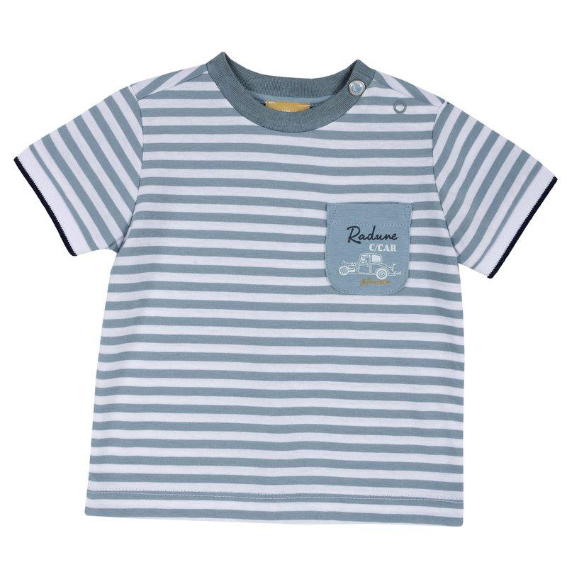 T-shirt con fantasia a righe e macchinina