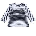 Maglietta a righe con cuoricino applicato 1M BIANCO E BLU