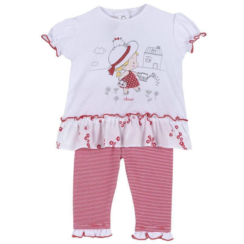 Set t-shirt con bambina e leggings a righe