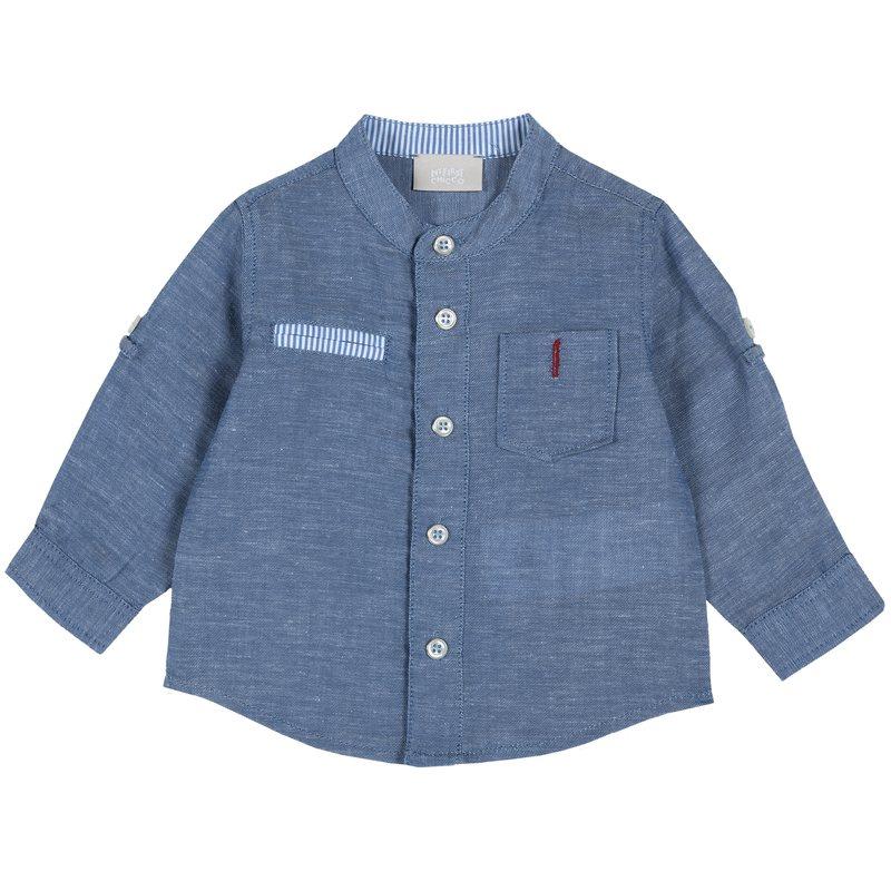 Camicia in misto lino con taschina