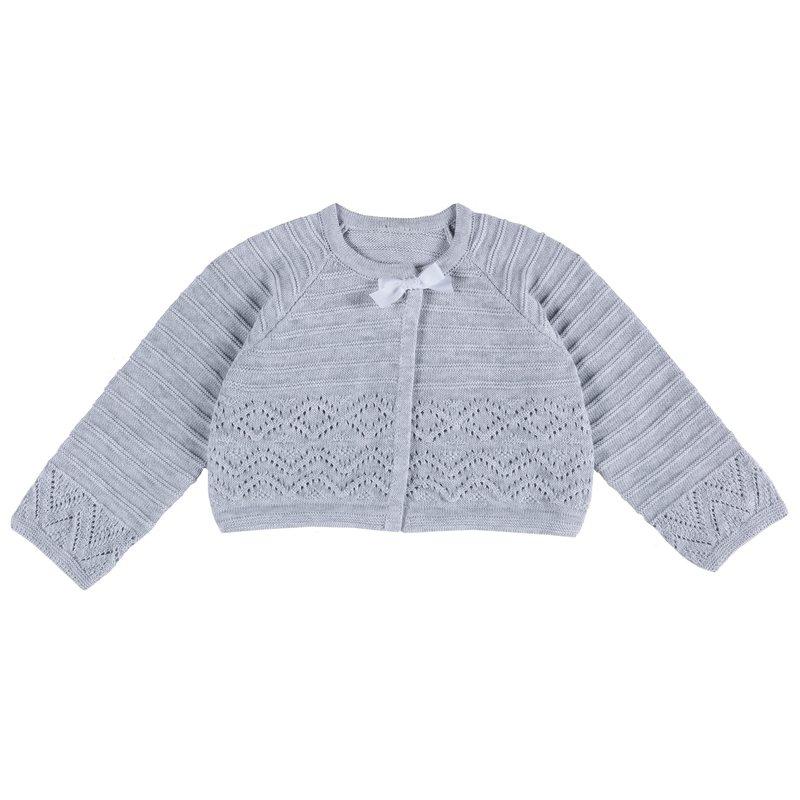 Cardigan di tricot con fiocchetto