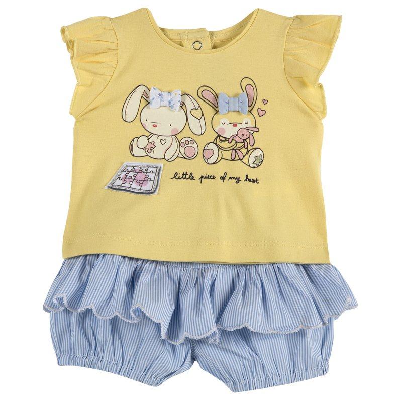 Set t-shirt con coniglietti e pantaloncino con volant