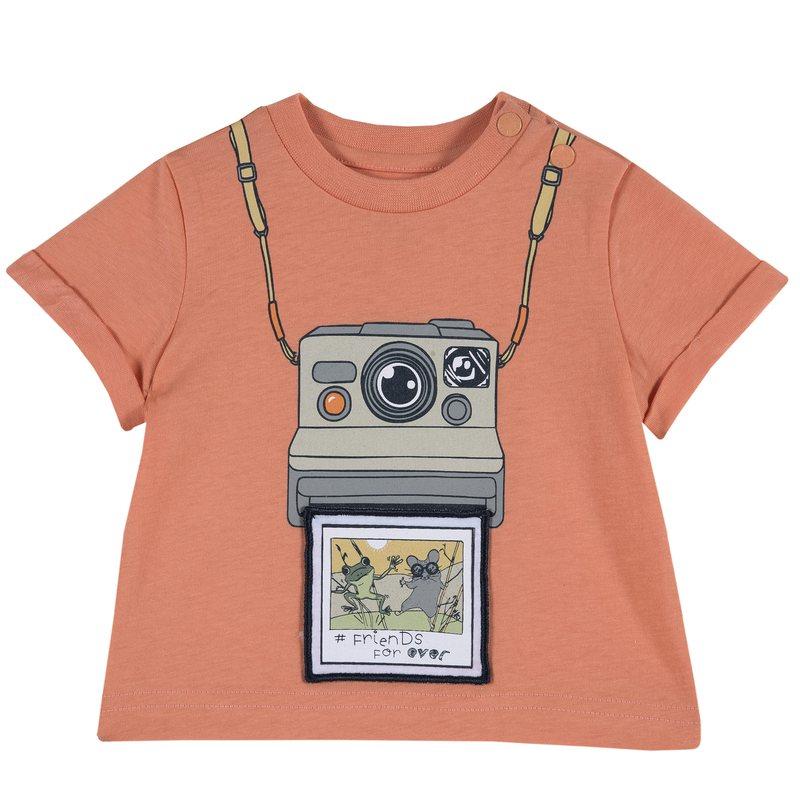 T-shirt con simpatica stampa 1M ARANCIO CHIARO