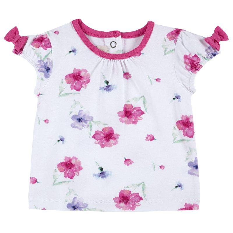 T-shirt floreale con fiocchetti