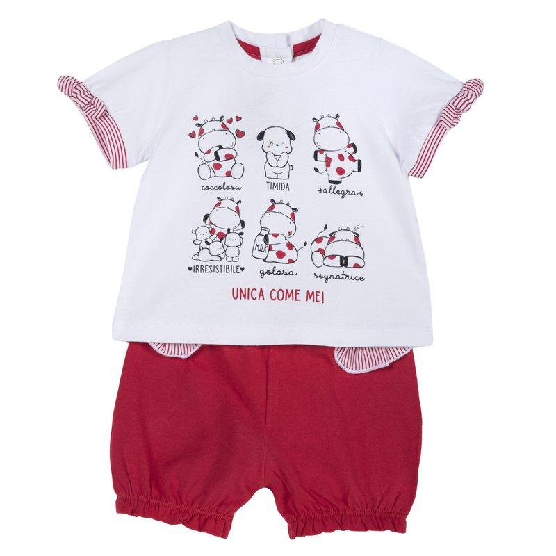 Set t-shirt con fiocchi e pantaloncini Mucca Milk