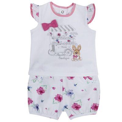 Set t-shirt con coniglietto e pantaloncini floreali