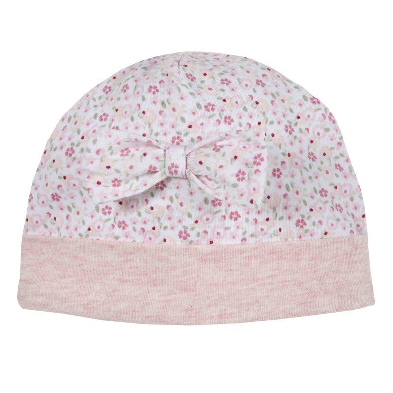 Cappello con fiocchetto e fantasia floreale