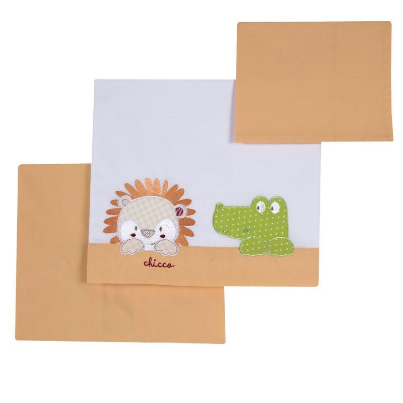 Set lenzuola e federa con leoncino e coccodrillo