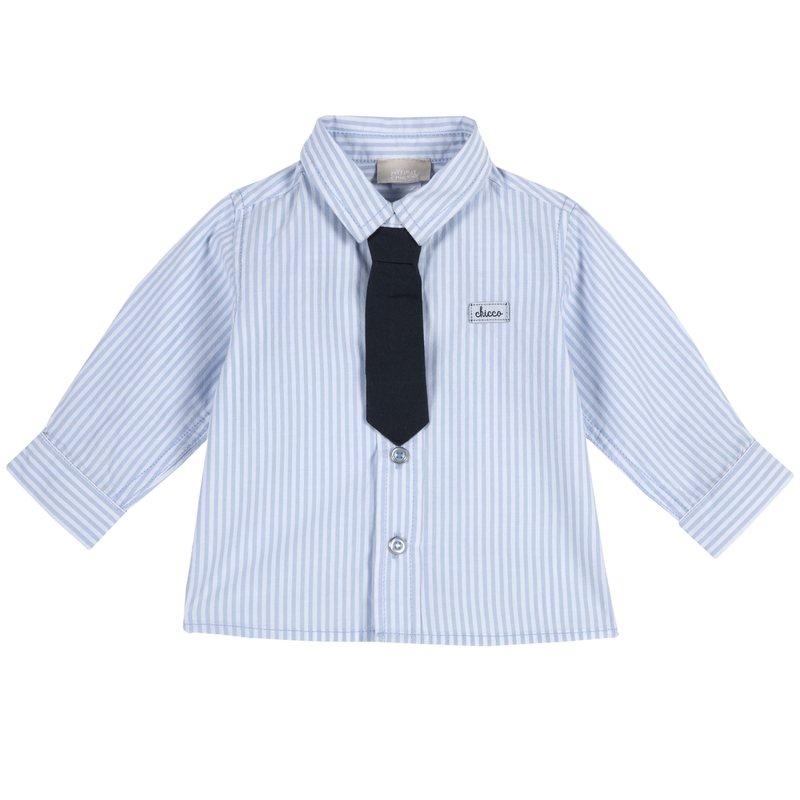 Camicia con cravatta 1M BIANCO E AZZURRO
