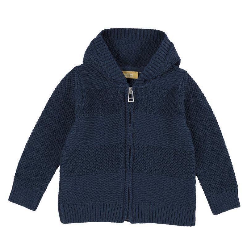Cardigan di tricot con cappuccio