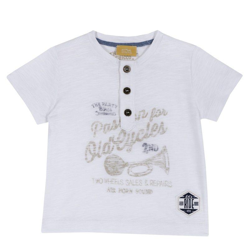 T-shirt con stampa e bottoncini 9M BIANCO
