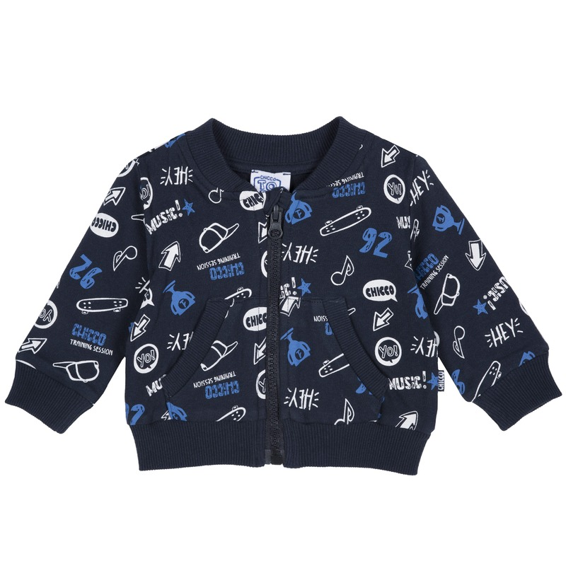 Cardigan in felpa con stampa all over 2Y BLU STAMPATO