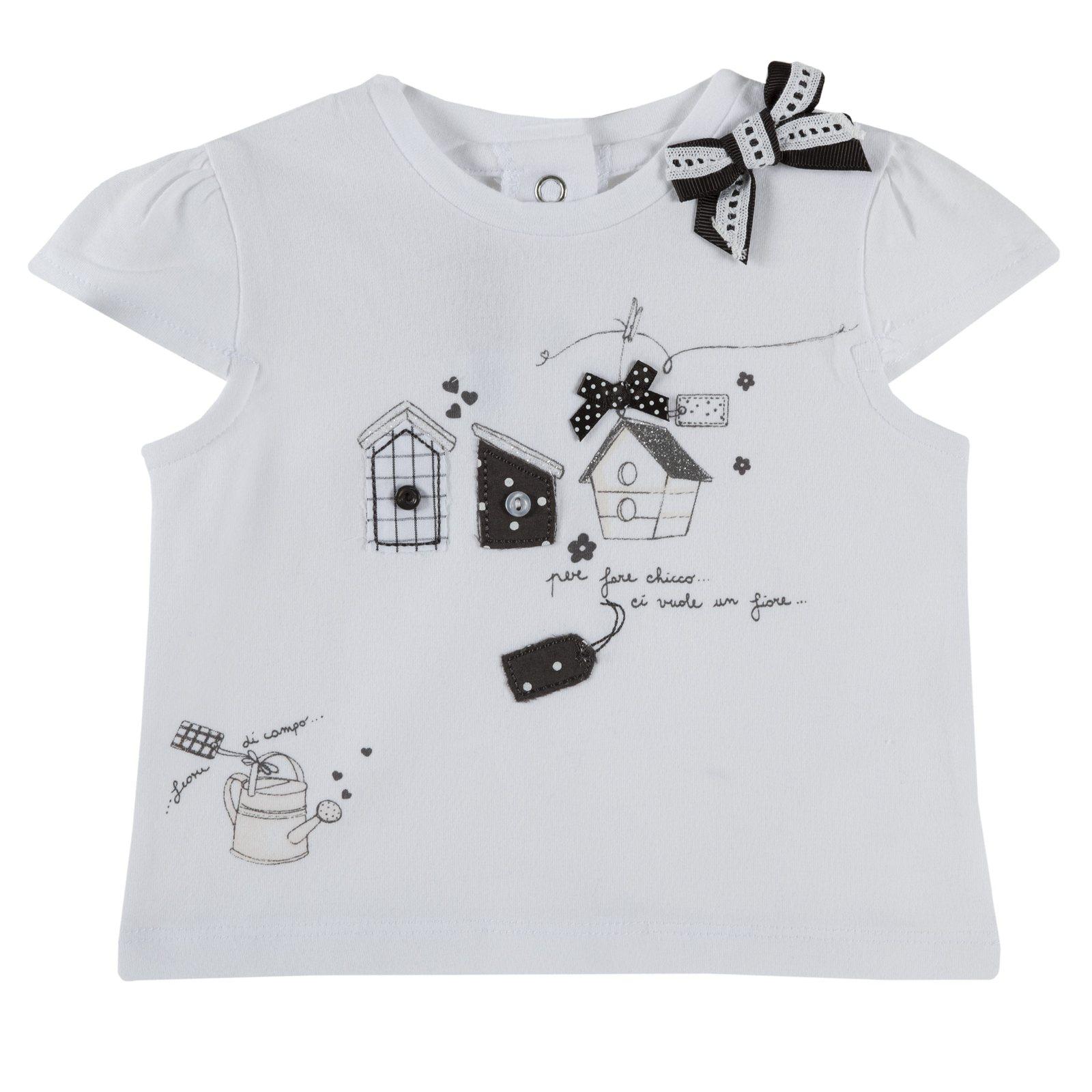75de5ca257b6fb Camicie e T-shirt bambina t-shirt con stampe e fiocchetti bianco e ...