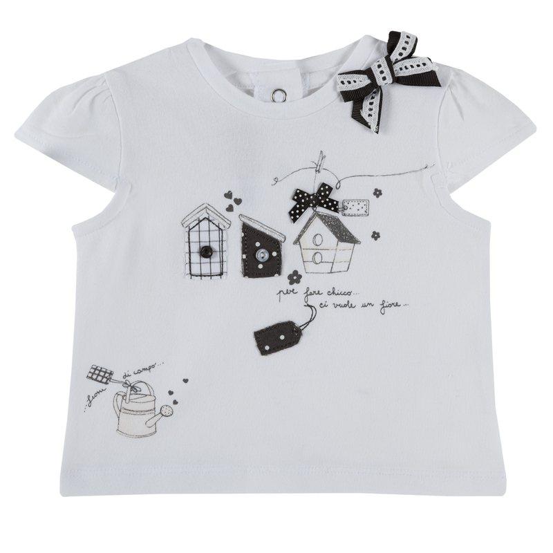 T-shirt con stampe e fiocchetti