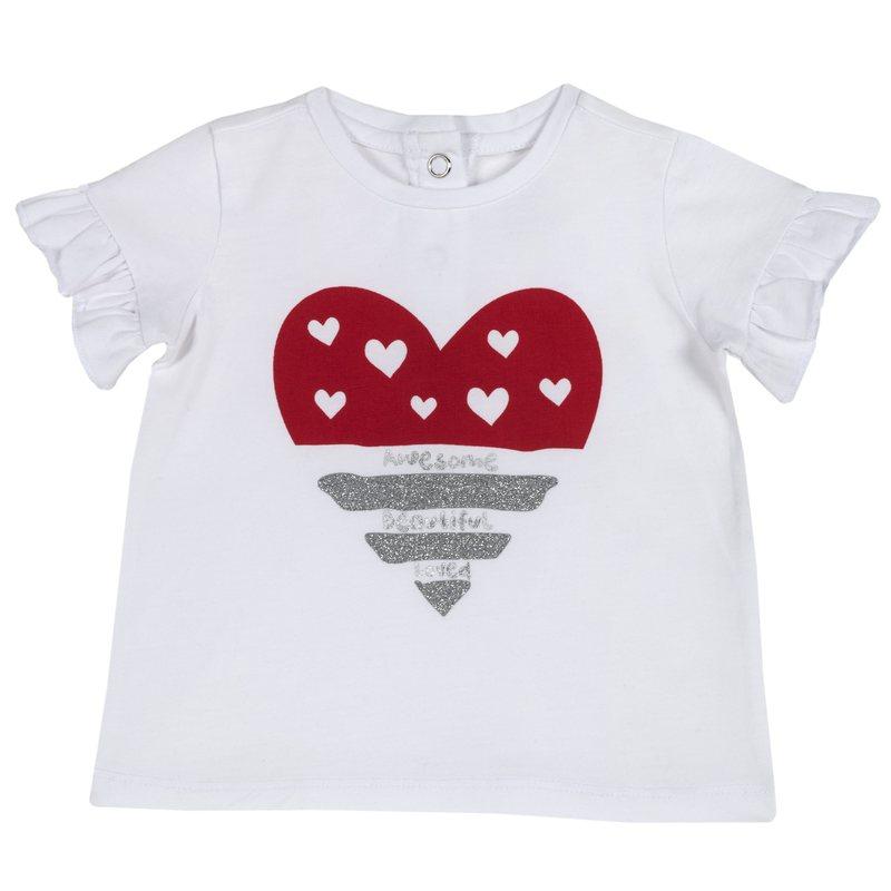 T-shirt di cotone con piccoli volant e stampa 1M BIANCO