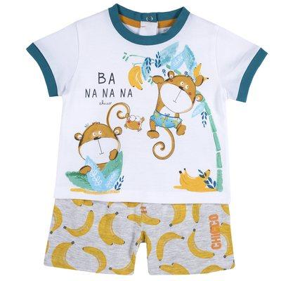 Set t-shirt con scimmiette e pantaloncino con banane