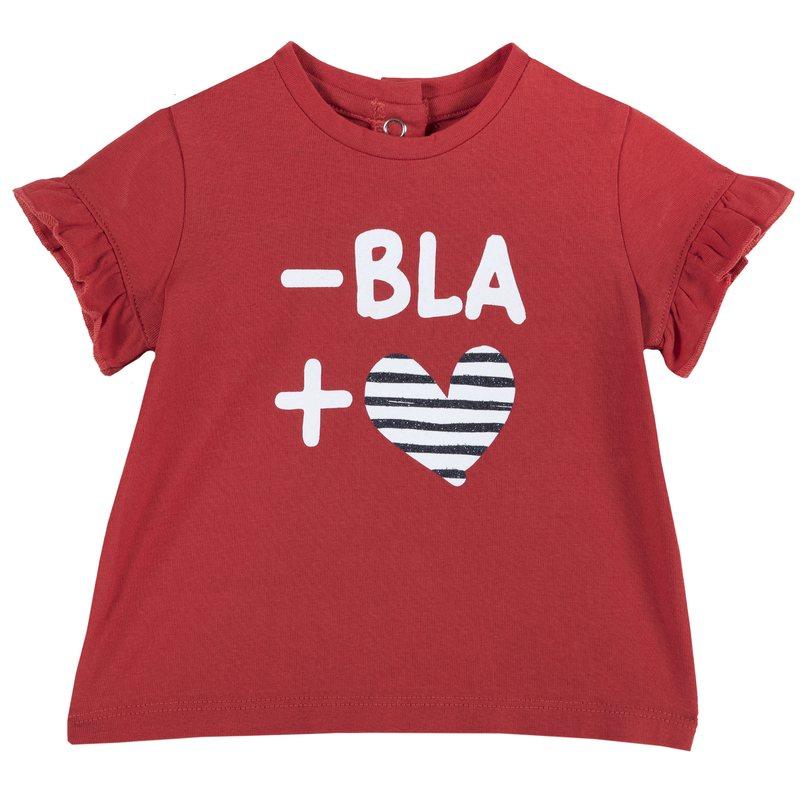 T-shirt con piccolo volant e stampa