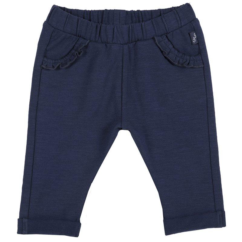 Pantalone in felpa con piccoli volant 1M BLU SCURO