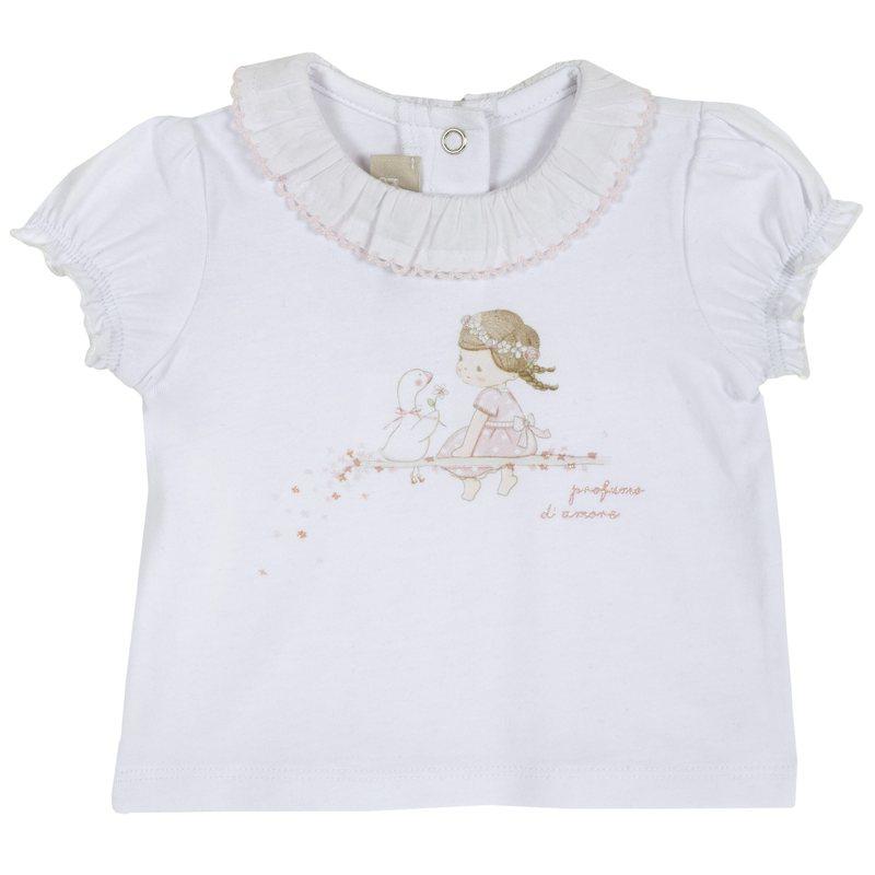 T-shirt con colletto a volant