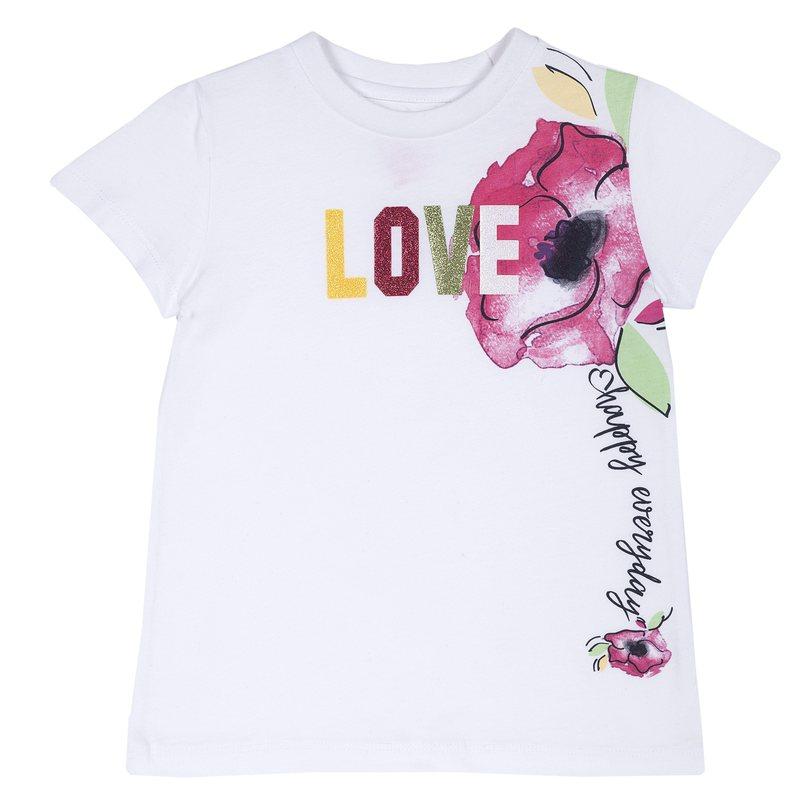 T-shirt con manica corta e stampa colorata 9M BIANCO