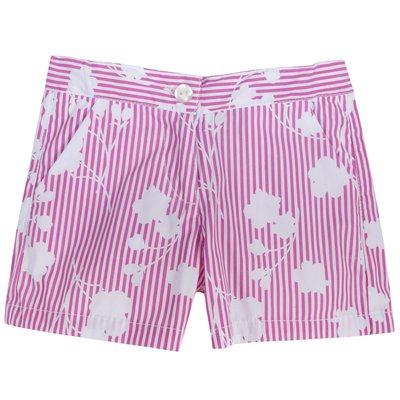 Pantaloncini con fantasia a righe e fiori