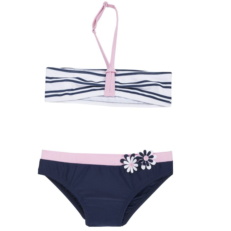 Bikini con fantasia a righe e fiorellini applicati