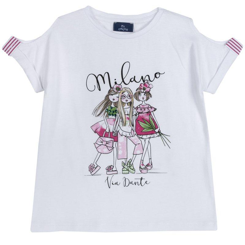 T-shirt con stampa e manica bucata 2Y BIANCO
