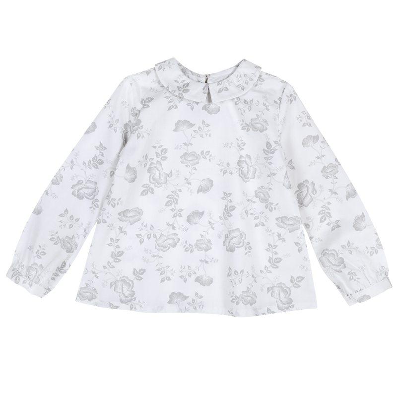 Camicia di raso con fantasia floreale