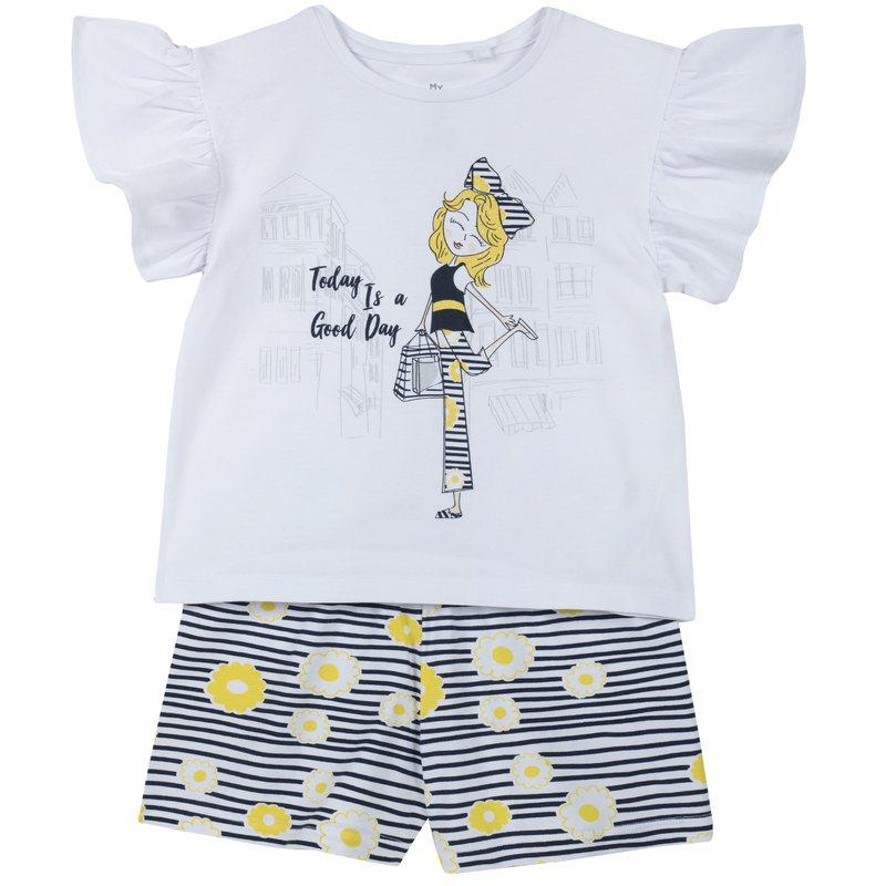 Set t-shirt con stampa e pantaloncini a righe con fiorellini