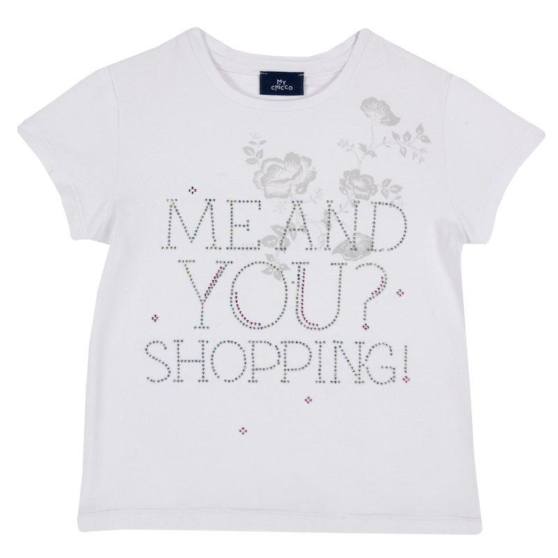 T-shirt con stampa e applicazioni