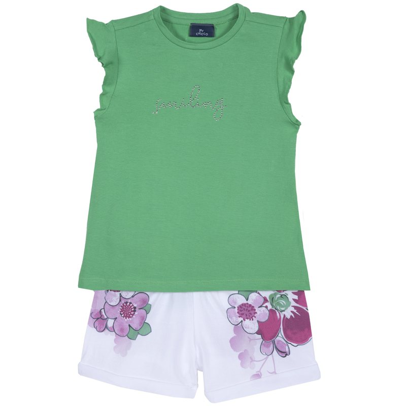 Set t-shirt con strass e pantaloncino floreale
