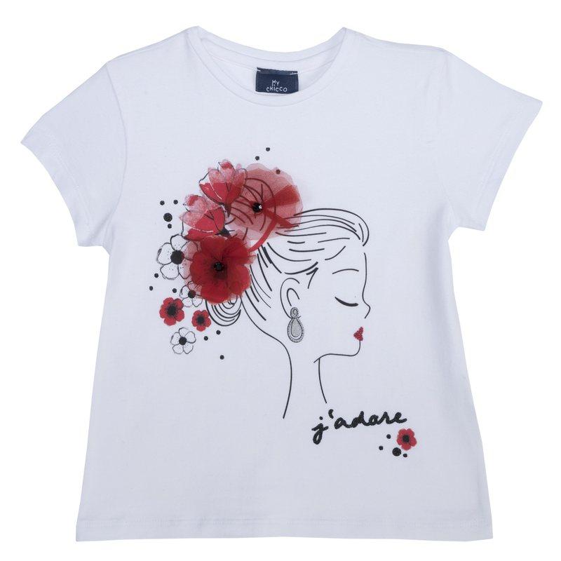 T-shirt con stampa e fiori applicati