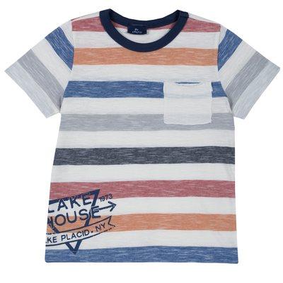 T-shirt a righe con tasca e stampa