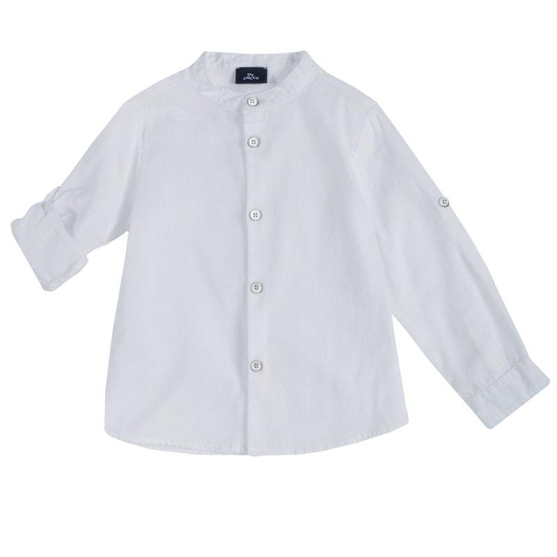 Camicia di cotone e lino con manica risvoltabile