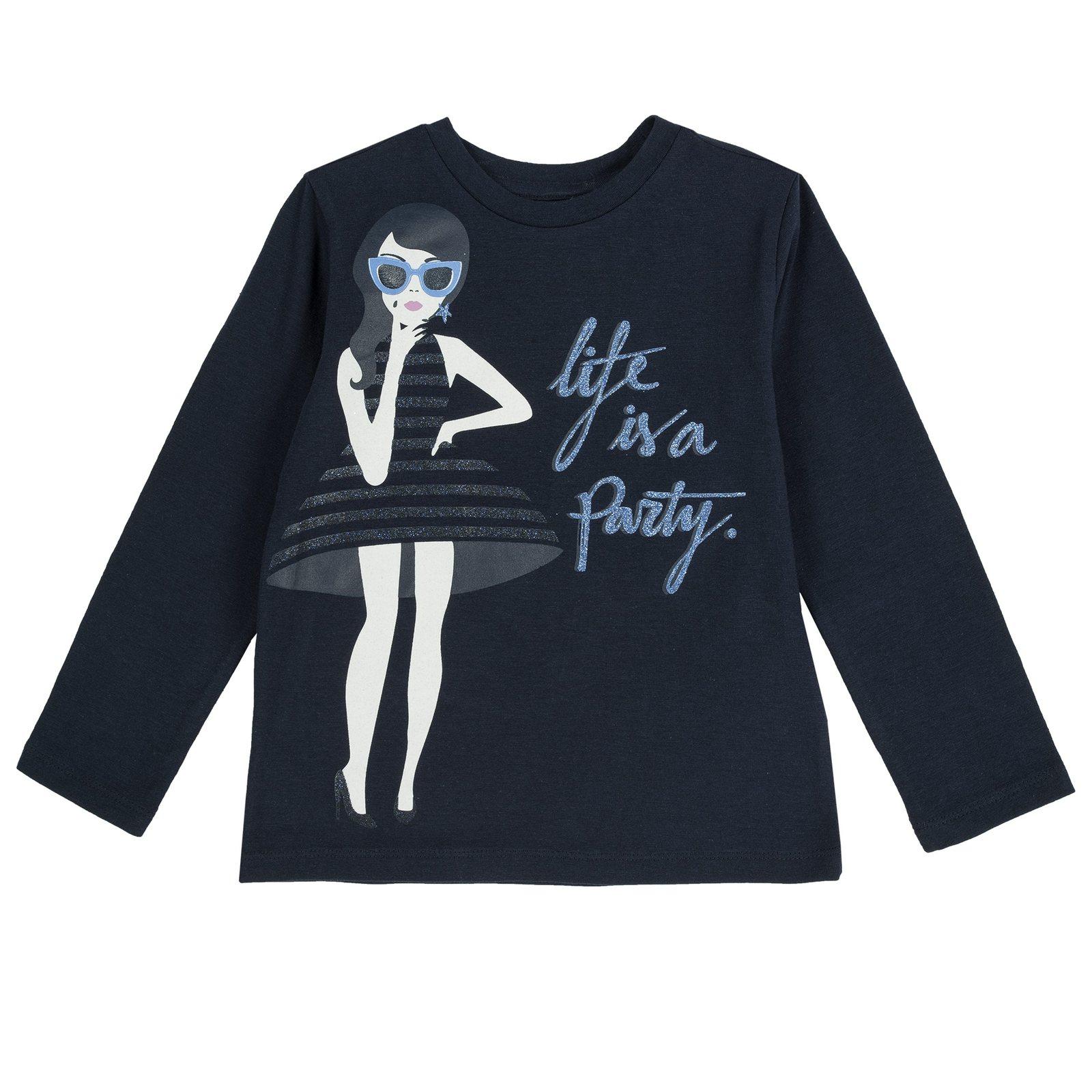 Camicie e T-shirt bambina maglietta con manica lunga e stampa blu ... e6e9267b2ca