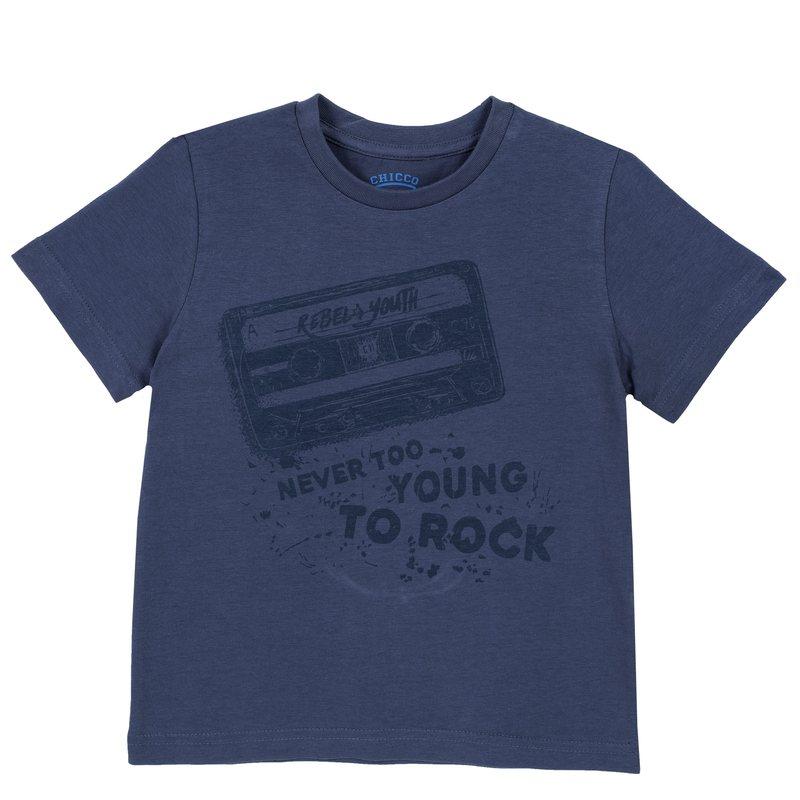 T-shirt di cotone con manica corta e stampa 9M BLU MEDIO
