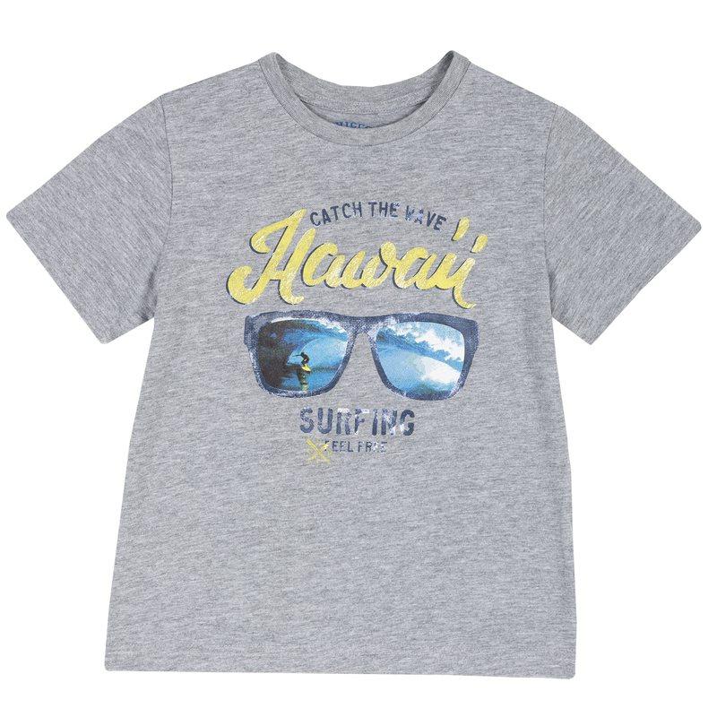 T-shirt di cotone con manica corta e stampa 9M GRIGIO CHIARO