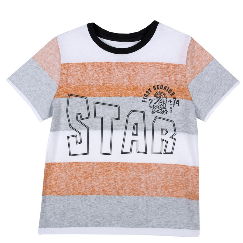 T-shirt con righe colorate e stampa