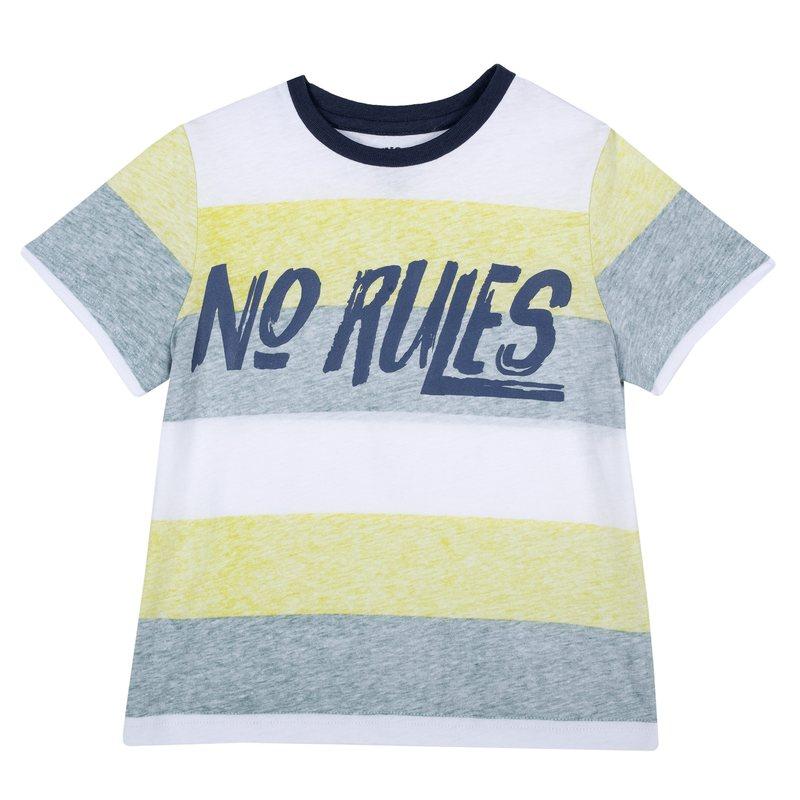 T-shirt con righe colorate e stampa